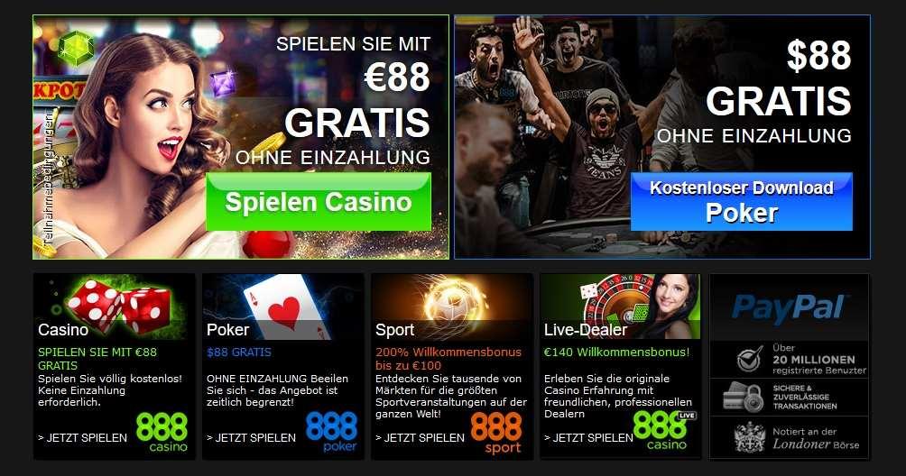 88€ gratis im 888.com Casino