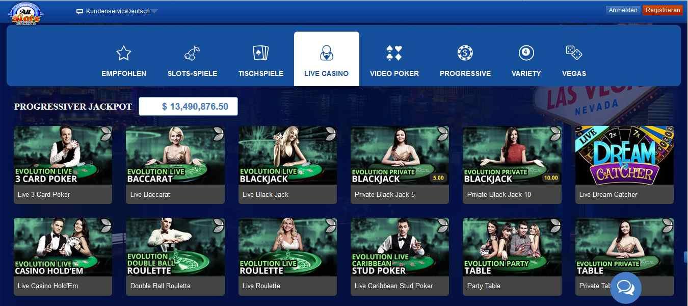 AllSlots Casino Livecasino