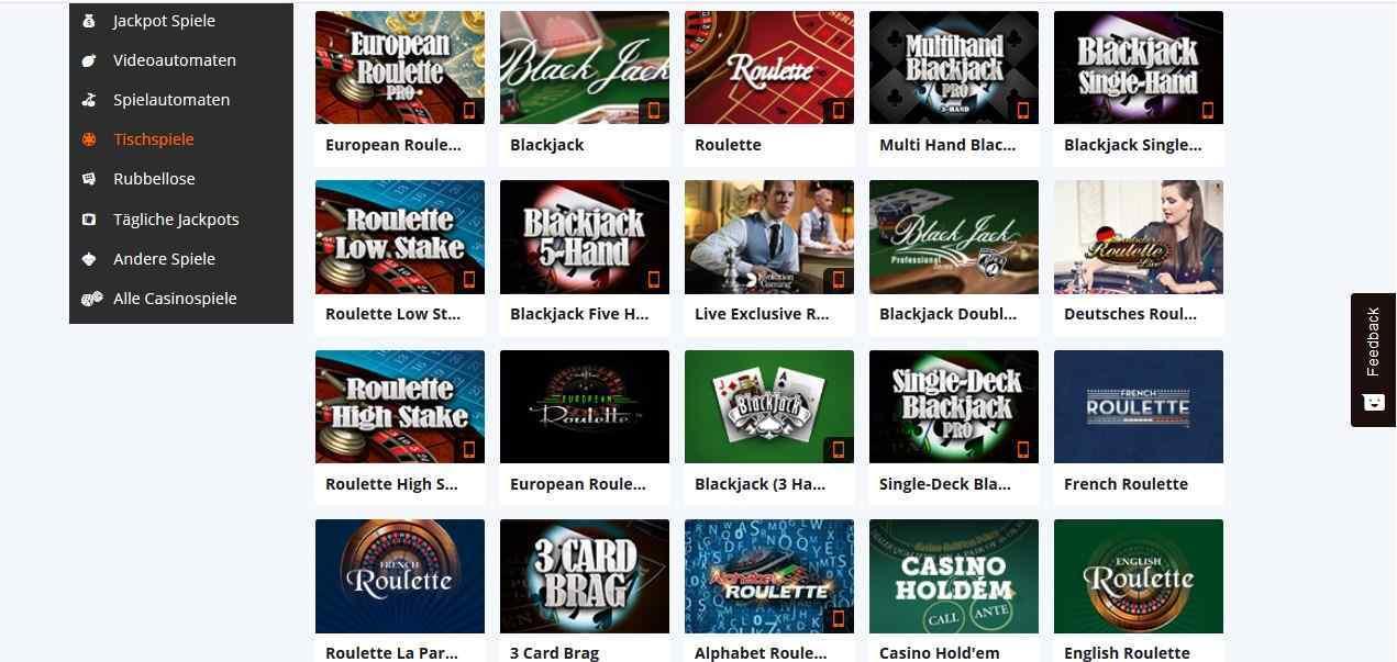 Betsson Online Casino Tischspiele