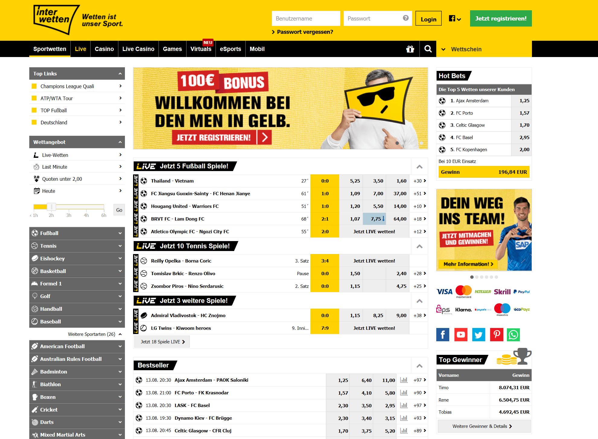 Interwetten Webseite