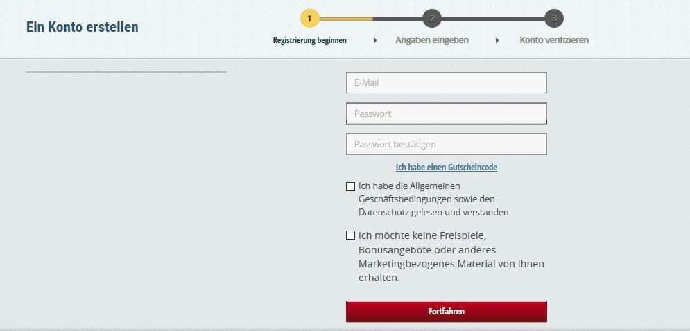 Registrierung EuroSlots