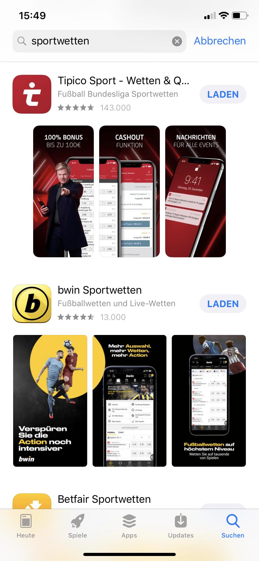 Sportwetten App Store