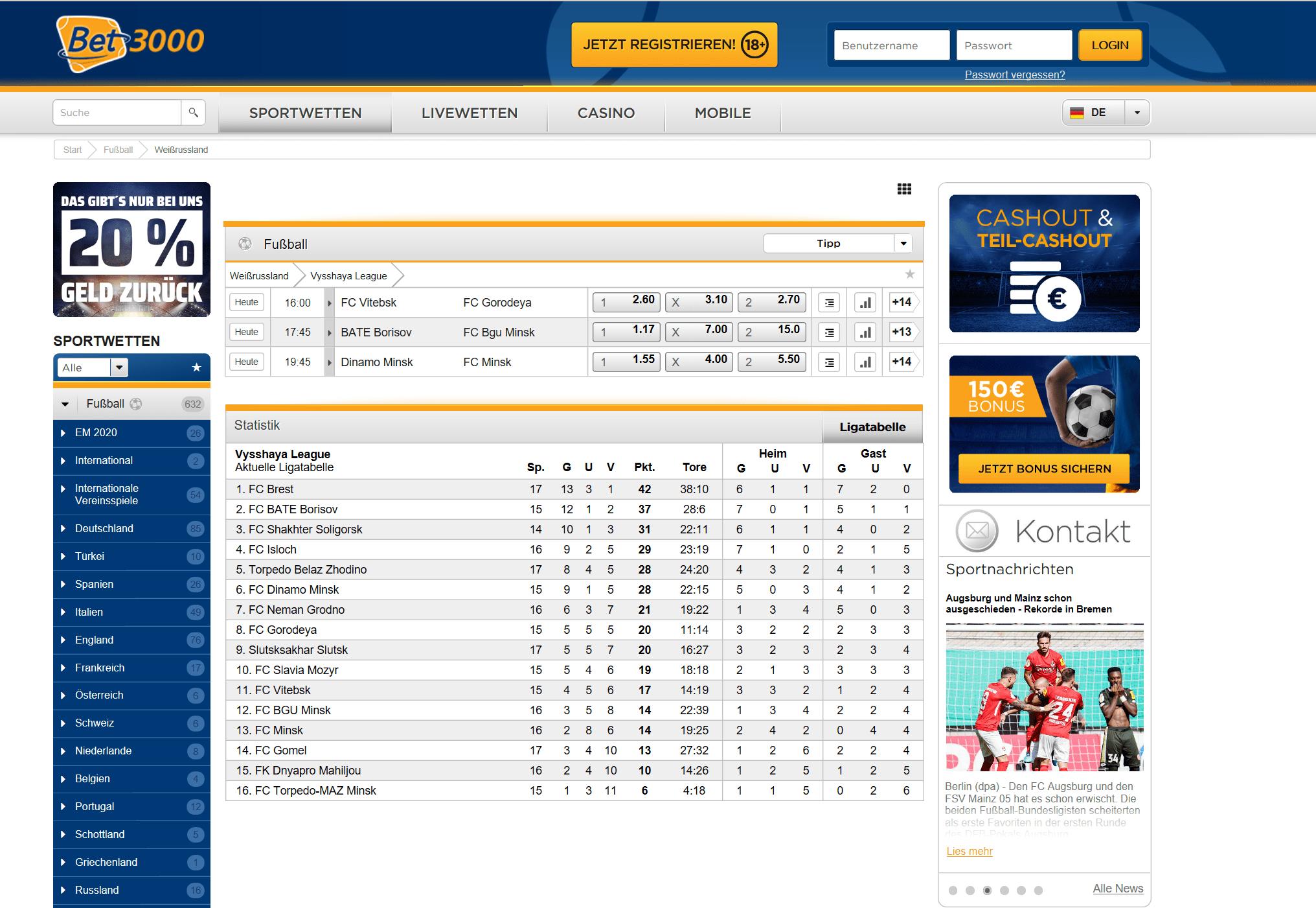 bet3000 Webseite