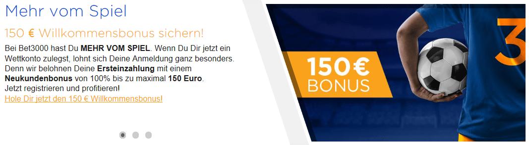 Sportwetten Vergleich bet3000 bonus
