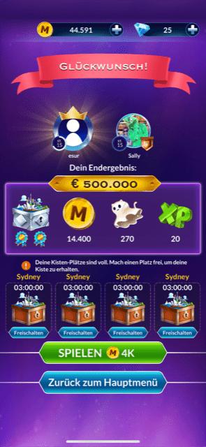 wer wird millionär spiel gewonnen