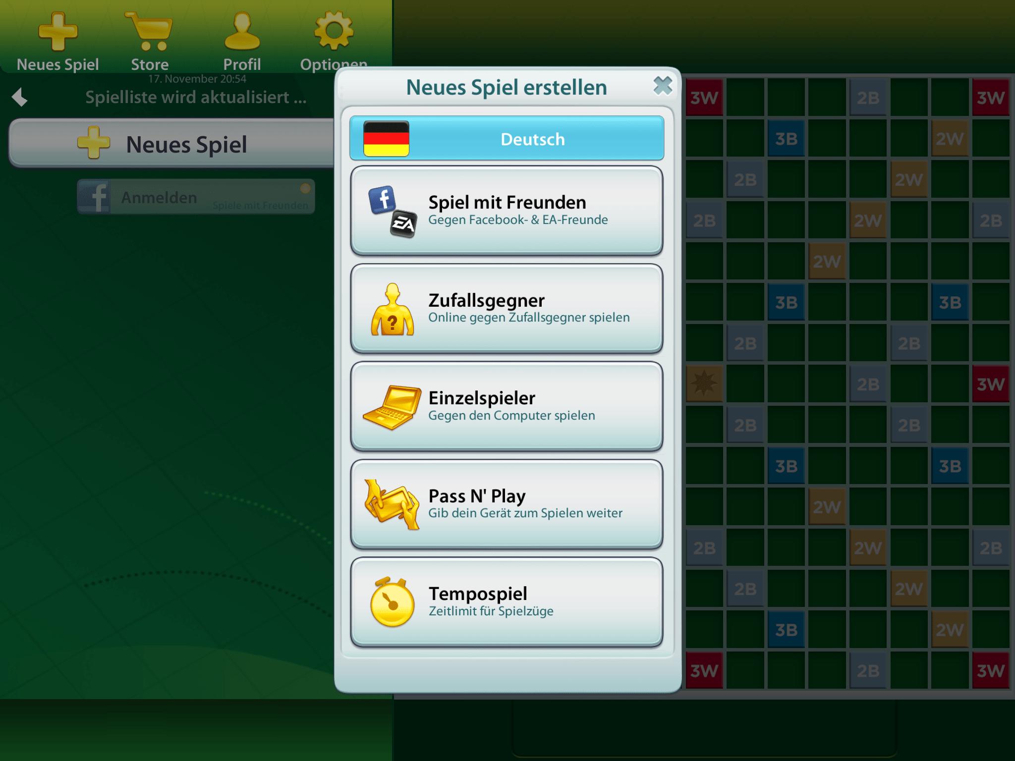 Scrabble App Spiel Starten